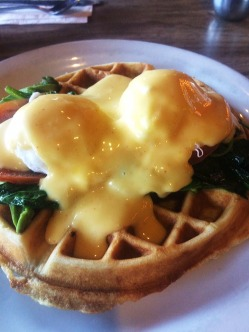 Emma's favoriteL Eggs florentine on a waffle.