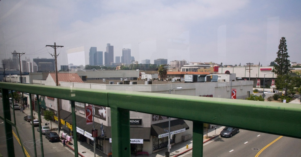 Image of downtown from the bridge above Chinatown on the Goldline
