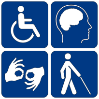 DISability access logo: wheelchair, cognitive emotional, sign language, blind person with walking cane