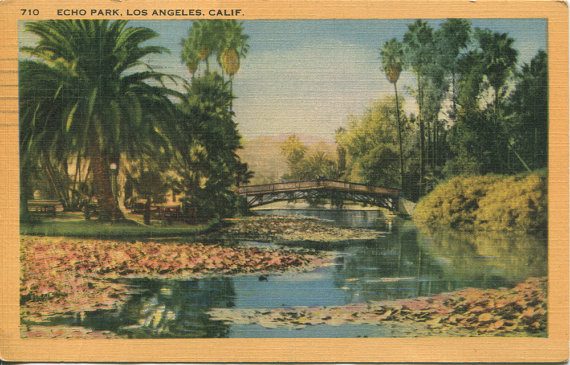 Old photo of Echo Park Lake