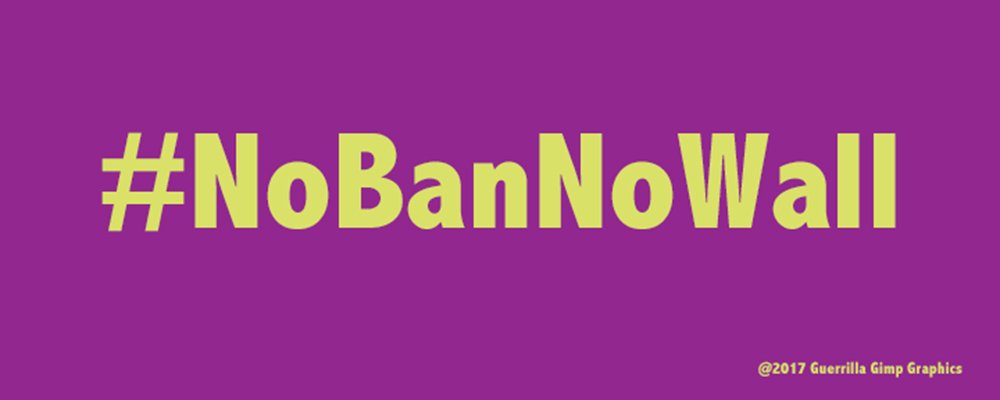 Light green text on purple background Text: #NoBanNoWall