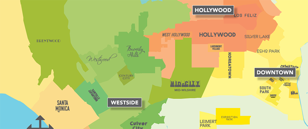 Colorful image of a rough map of L.A. with Hollywood, Downtown and Westside featured, with no neighborhoods east of the river and only Leimert Park & Exposition Park, south of the 10 Freeway with text: DISCOVER L.A.'S NEIGHBORHOODS Los Angeles is a trend-setting global metropolis with an extraordinary history and a rich cultural heritage. It's known as the Entertainment Capital of the World and is home to renowned museums, along with 75 miles of sunny coastline. With so much to see and do, the best way to discover L.A. is by exploring L.A.'s vibrant multicultural neighborhoods. Use this map as your guide to find the perfect hotel in a neighborhood that suits your style.