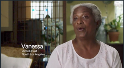 Image of Vanessa Johnson an African American Elder, talking to the camera about being an Airbnb Host. Caption says Vanessa Airbnb Host South Los Angeles