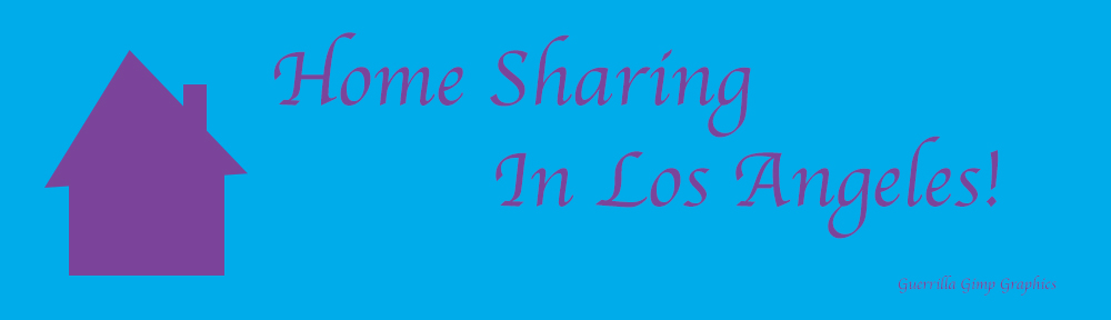 Blue background, purple graphic and text. Graphic: silhouette of a house. Text: Home Sharing In Los Angeles