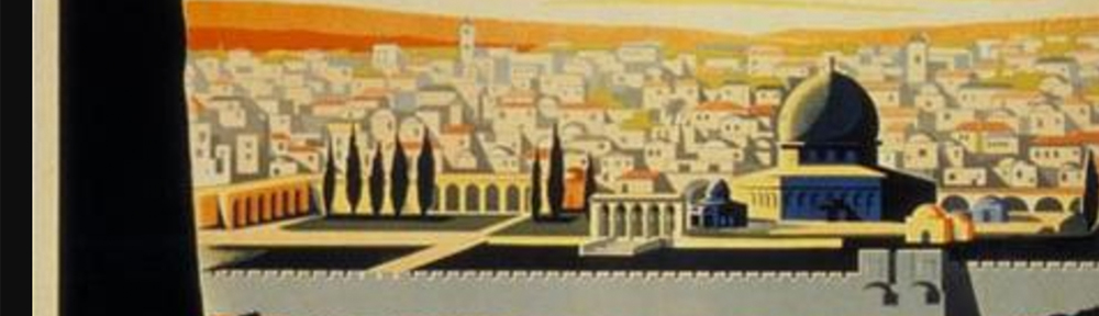 Image of the city of Jerusalem from a 1930s zionist poster