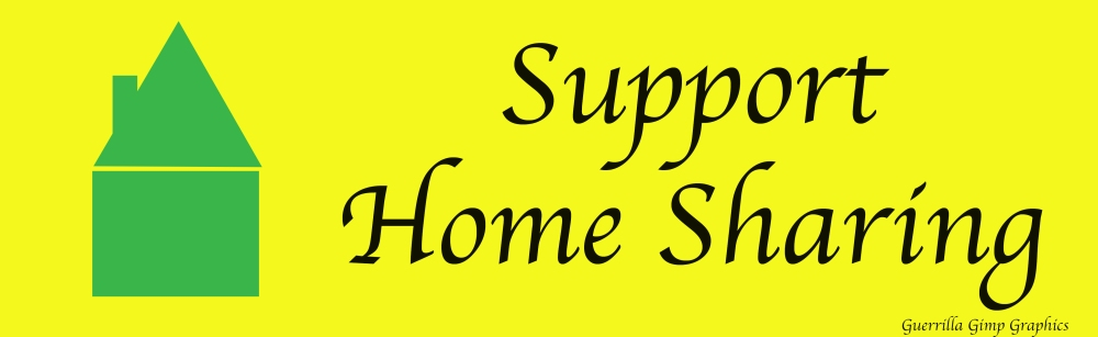 Yellow background with green silhouette of a house. Text: Support Home Sharing