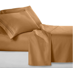 Clara Clark Sheet Set: fitted sheet, flat sheet and 2 pillow cases in mocha light brown.