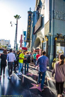 Hollywood Walk of Fame: tourists on Hollywood Blvd in front of the Chinese Theater.
