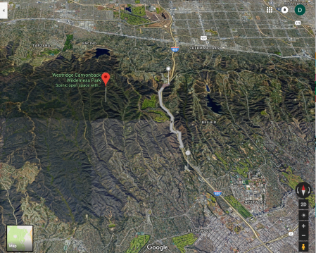 Google Maps Screen shot of the Westridge- Canyon Back Wilderness area and Bel Air with the 405 Freeway dividing the two. Lower map pin shows the location of the Getty Center, upper map pin shows the location of the Skirball Cultural Center. Bel Aire, the neighborhood to the right of the 405 freeway is a hillside community of multimillion dollar homes.