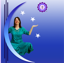 Image of Jessica Miller inside crescent moon with stars on a purple field.