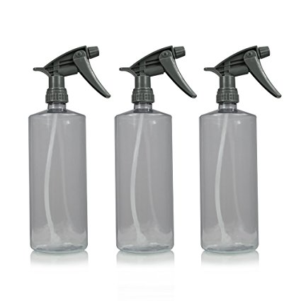 Clear plastic spray bottles with spray top.