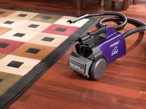 Eureka Mighty Mite Pet Lover Bagged Canister Vacuum Cleaner, 3684F A small, light weight, purple canister vacuum cleaner with a HEPA filter, on a wood floor next to a colorful area rug.